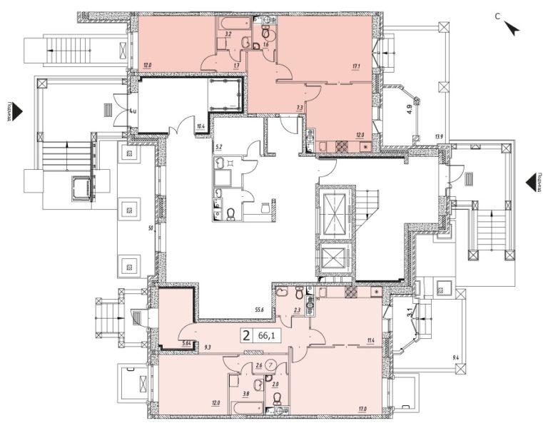 2-комнатная квартира в ЖК Видный город, дом №10к1, квартира №10к1-32