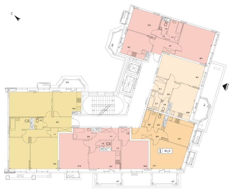 1-комнатная квартира в ЖК Видный город, дом №10к1, квартира №10к1-135