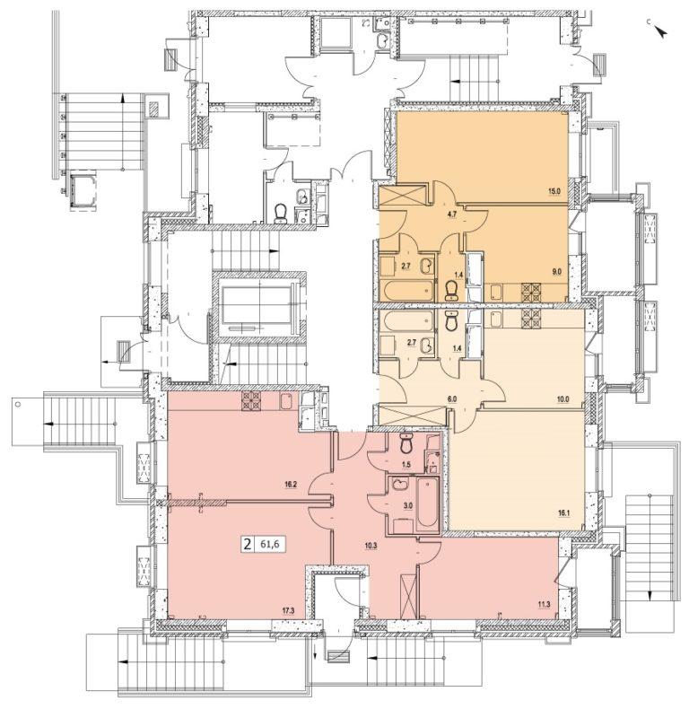 2-комнатная квартира в ЖК Видный город, дом №13к1, квартира №13к1-3