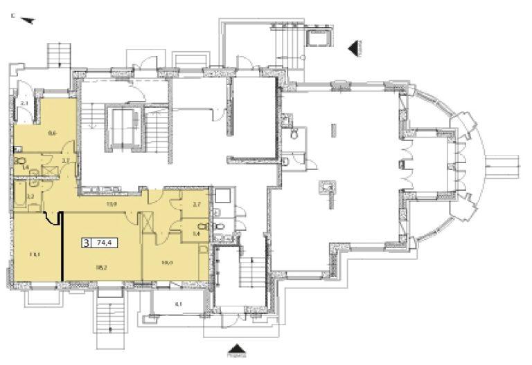 4-комнатная квартира в ЖК Видный город, дом №13к2, квартира №13к2-244