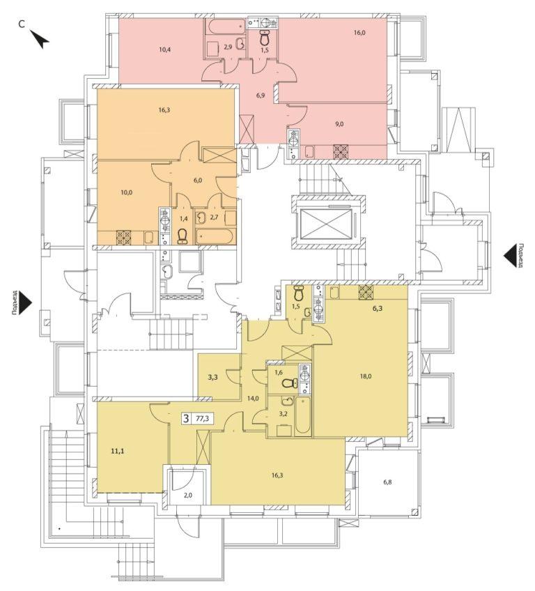3-комнатная квартира в ЖК Видный город, дом №16к1, квартира №16к1-3