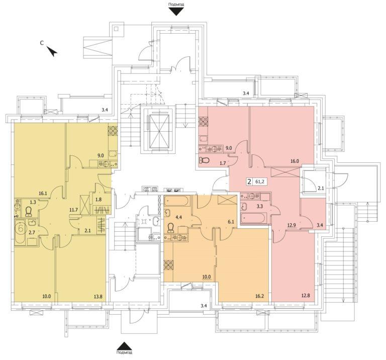 2-комнатная квартира в ЖК Видный город, дом №16к2, квартира №16к2-198