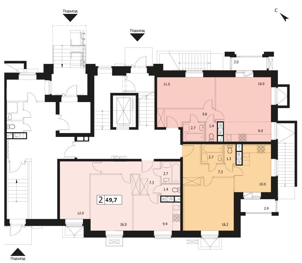 2-комнатная квартира в ЖК Видный город, дом №12к1, квартира №12к1-3
