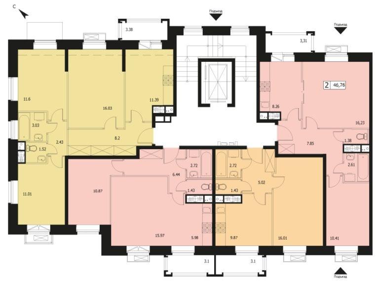 2-комнатная квартира в ЖК Видный город, дом №12к1, квартира №12к1-69
