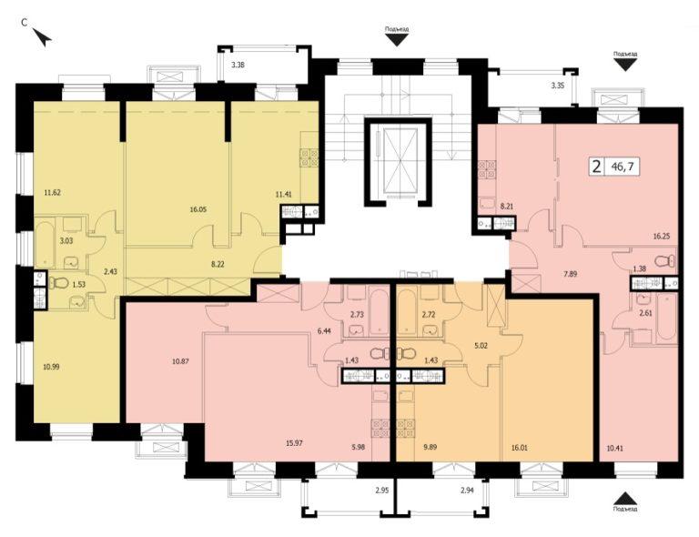 2-комнатная квартира в ЖК Видный город, дом №12к1, квартира №12к1-73