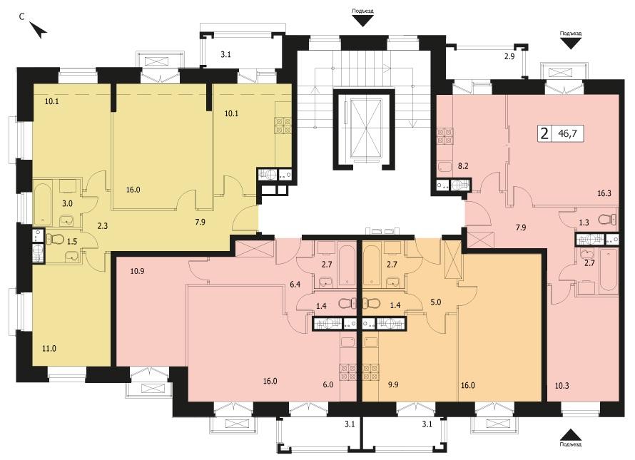 2-комнатная квартира в ЖК Видный город, дом №12к1, квартира №12к1-77