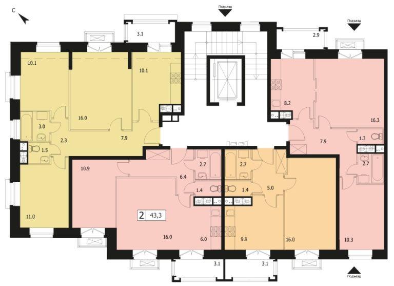 2-комнатная квартира в ЖК Видный город, дом №12к1, квартира №12к1-79