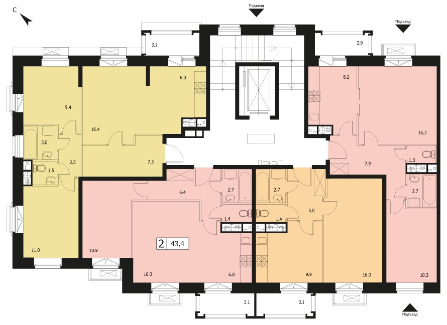2-комнатная квартира в ЖК Видный город, дом №12к1, квартира №12к1-87
