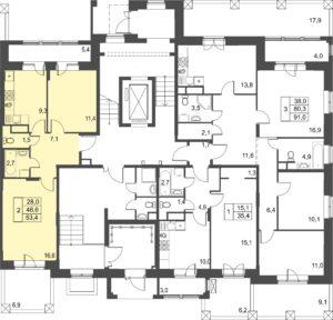 2-комнатная квартира в ЖК Лесобережный, дом №3, квартира №4