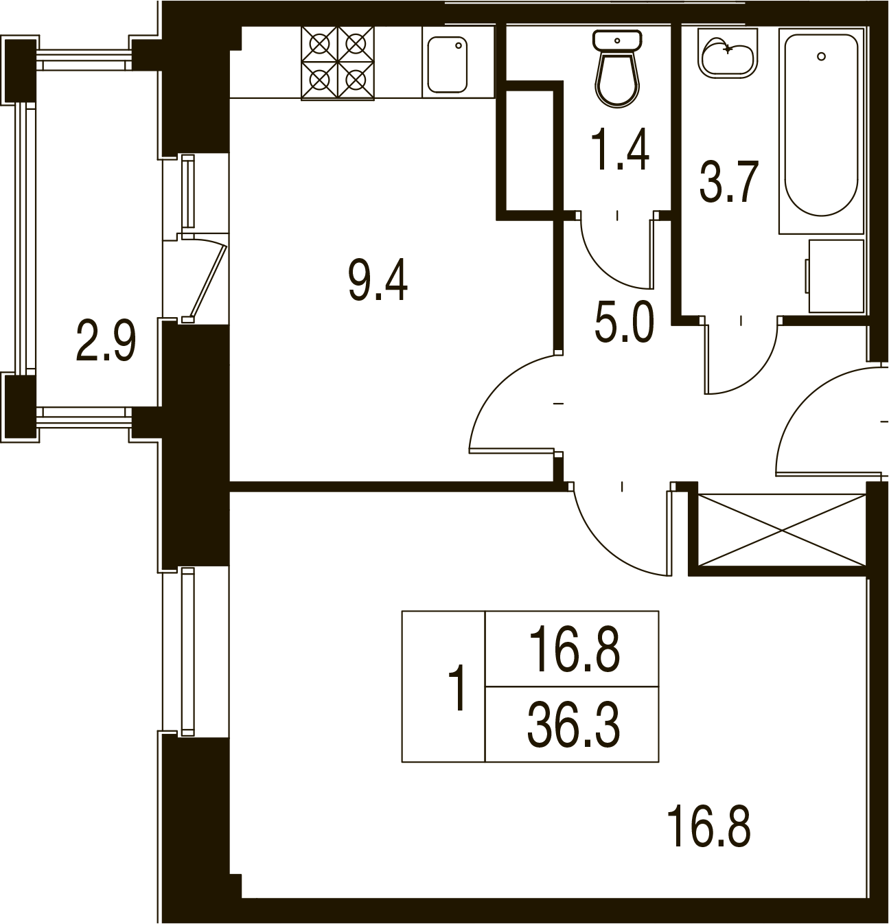 1-комнатная квартира в Митино О2, дом №7, квартира №07-113