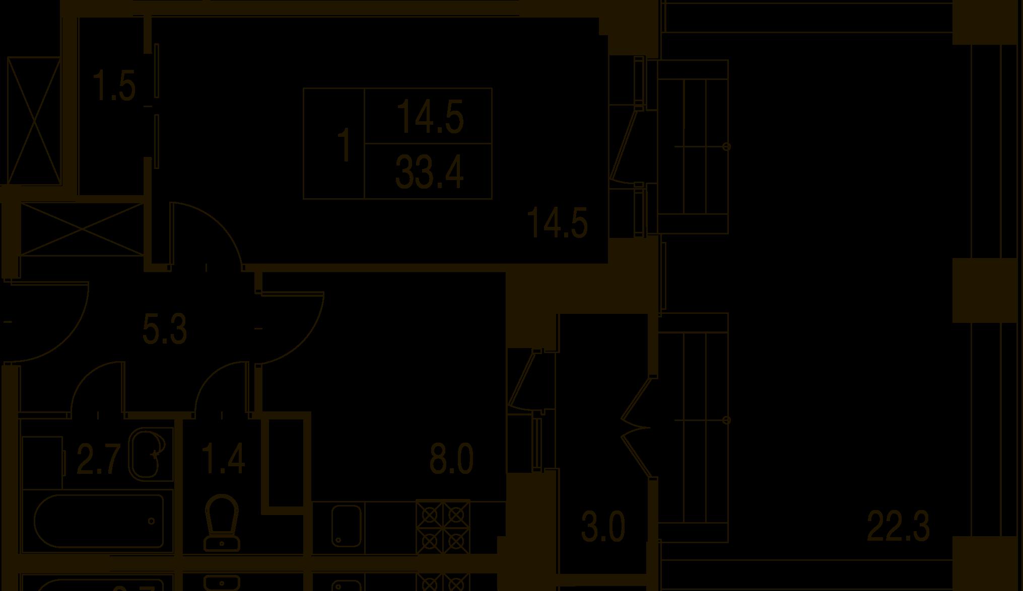 1-комнатная квартира в Митино О2, дом №7, квартира №07-115
