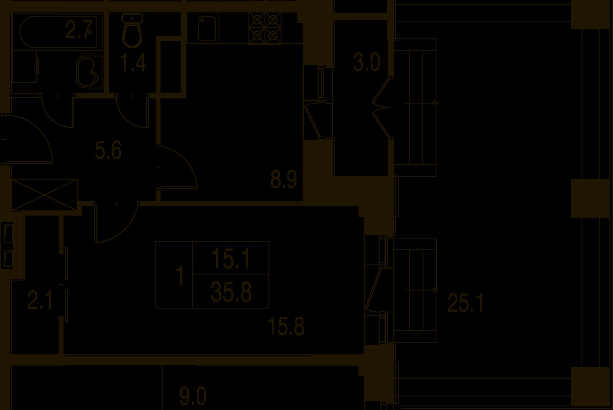 1-комнатная квартира в Митино О2, дом №7, квартира №07-116