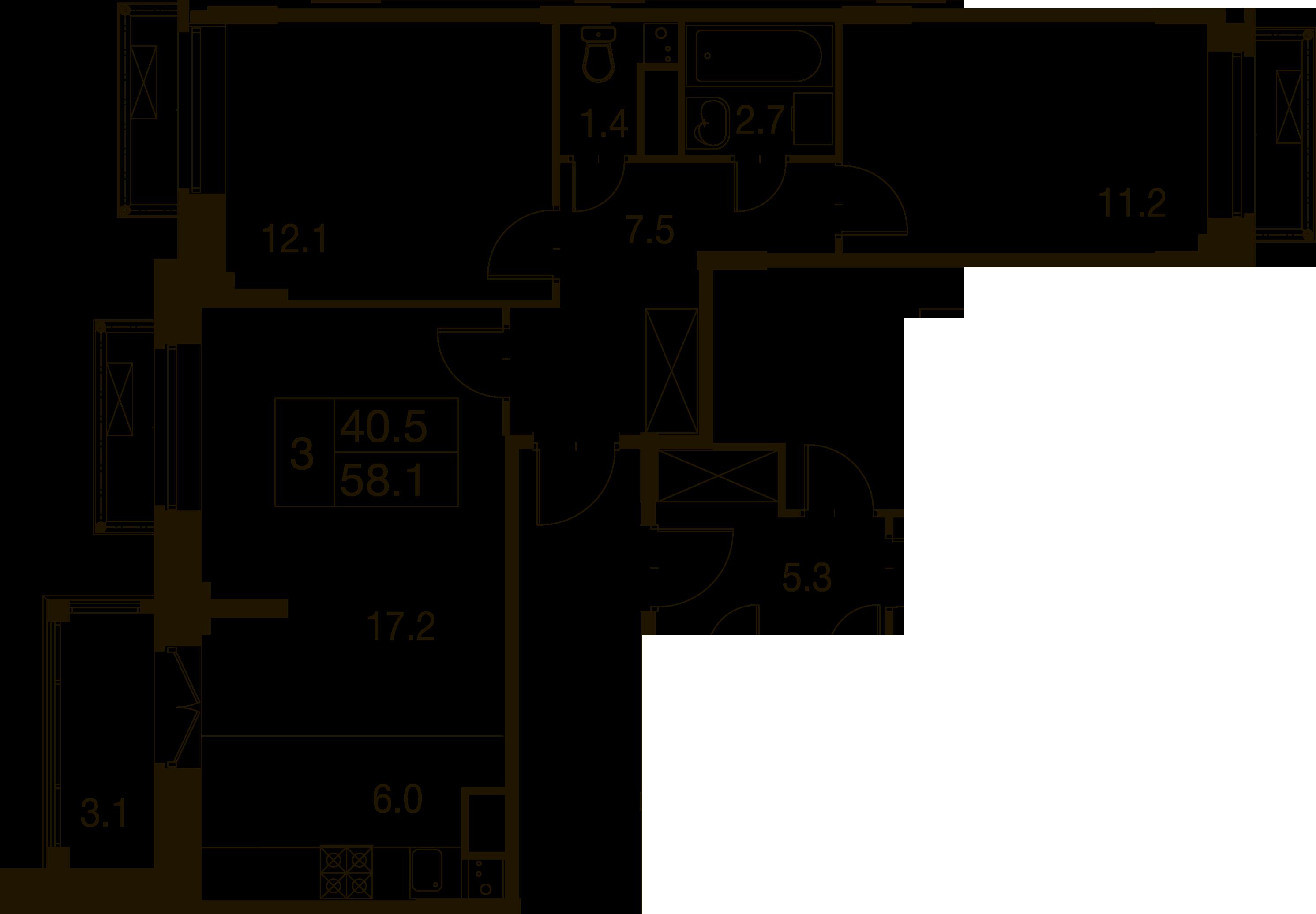 3-комнатная квартира в Митино О2, дом №7, квартира №07-160