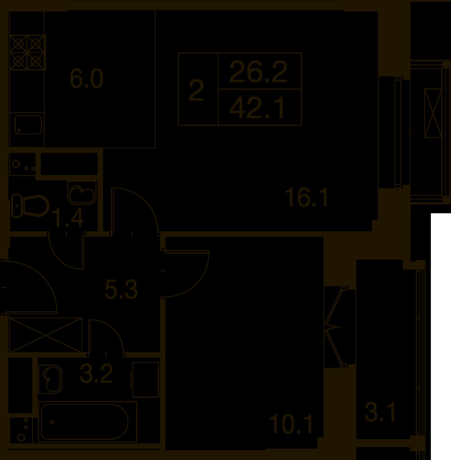 2-комнатная квартира в Митино О2, дом №7, квартира №07-163