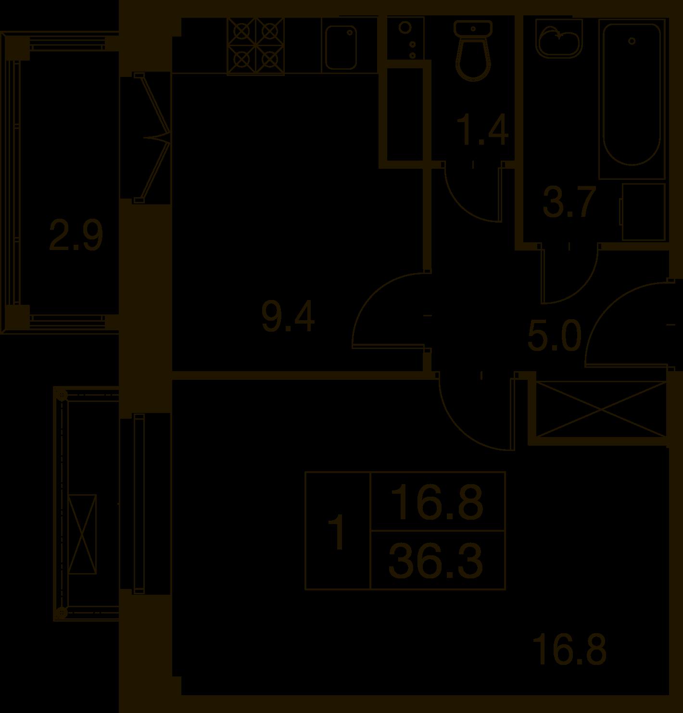 1-комнатная квартира в Митино О2, дом №7, квартира №07-167