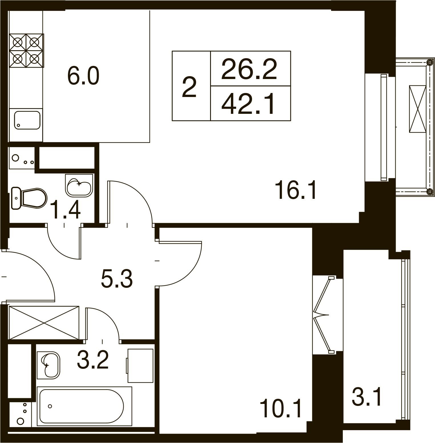 2-комнатная квартира в Митино О2, дом №7, квартира №07-171