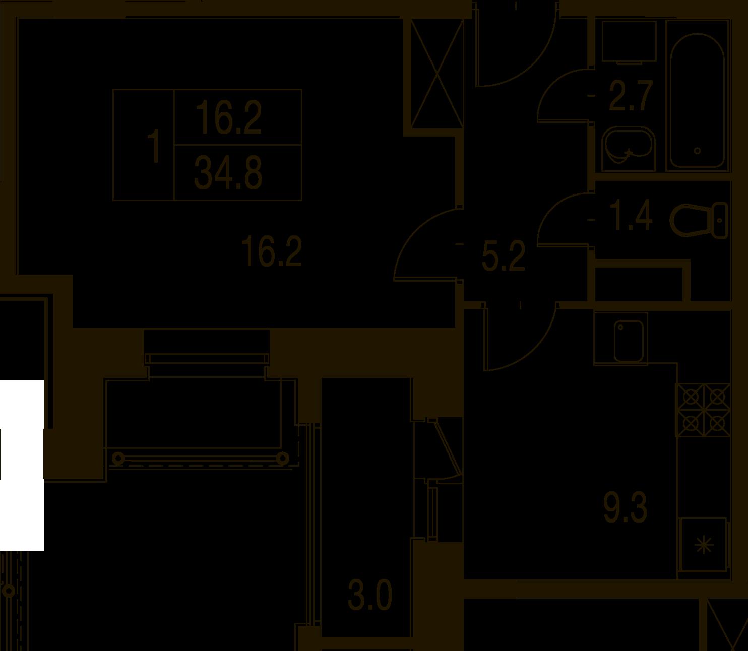 1-комнатная квартира в Митино О2, дом №7, квартира №07-178