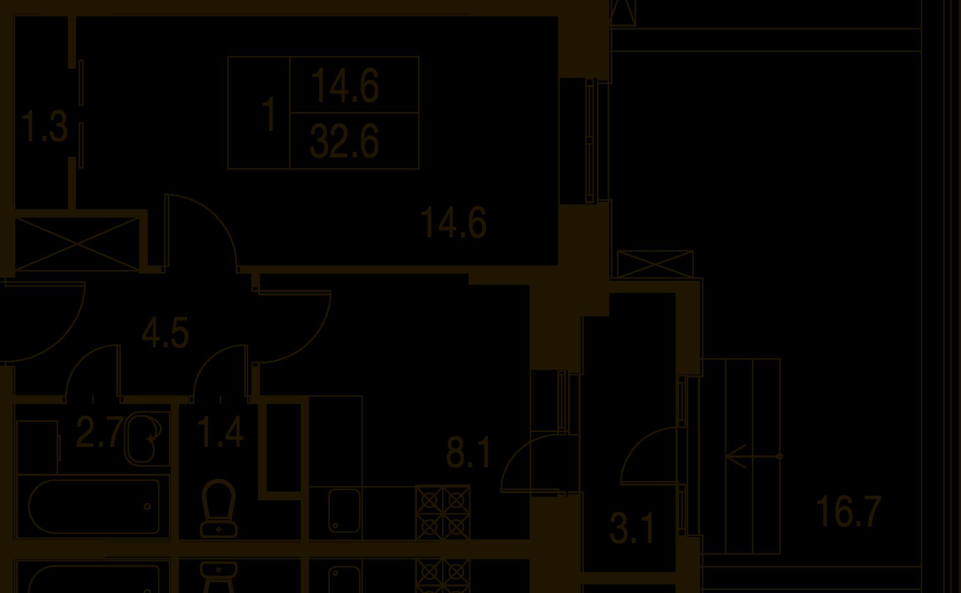 1-комнатная квартира в Митино О2, дом №7, квартира №07-002