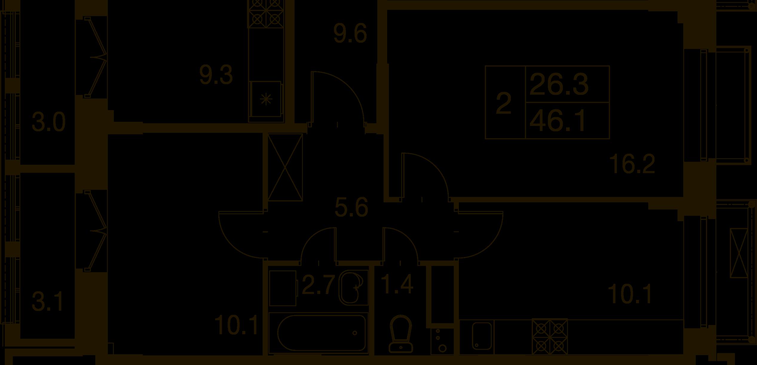 2-комнатная квартира в Митино О2, дом №7, квартира №07-206