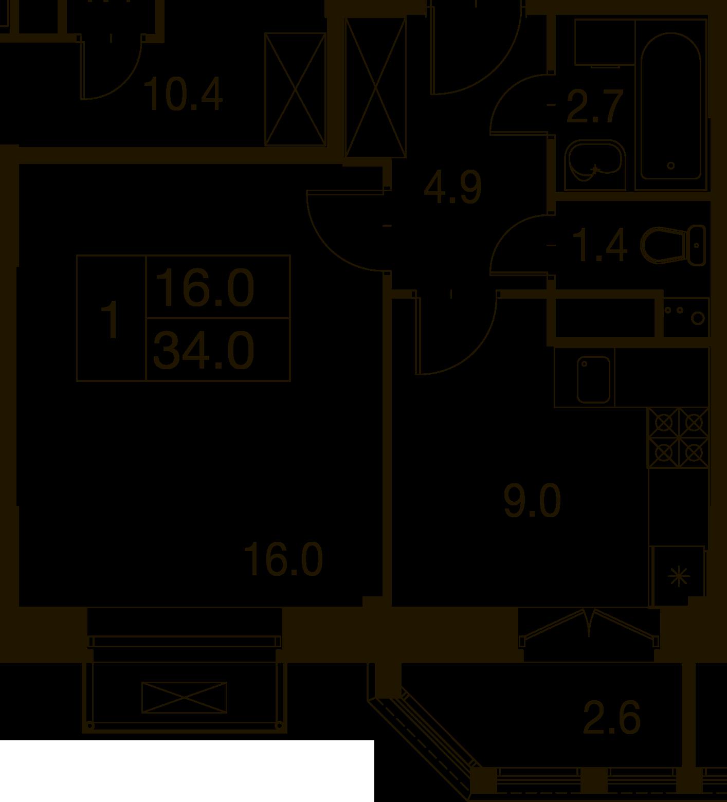 1-комнатная квартира в Митино О2, дом №7, квартира №07-241