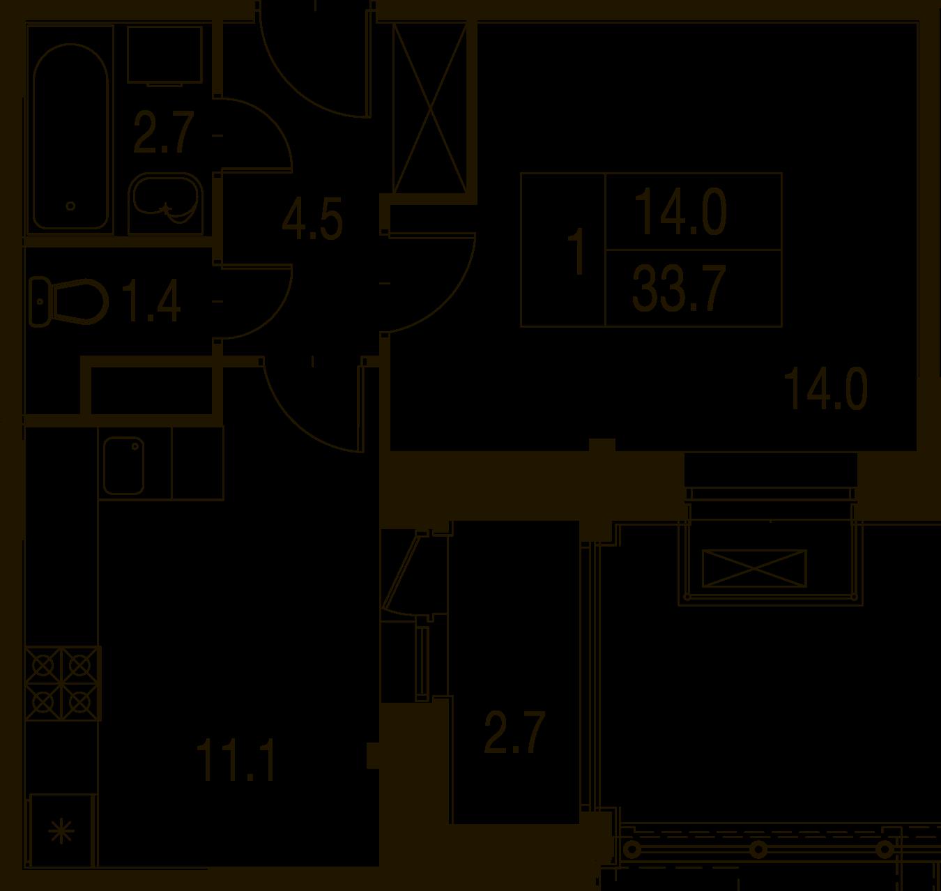 1-комнатная квартира в Митино О2, дом №7, квартира №07-273