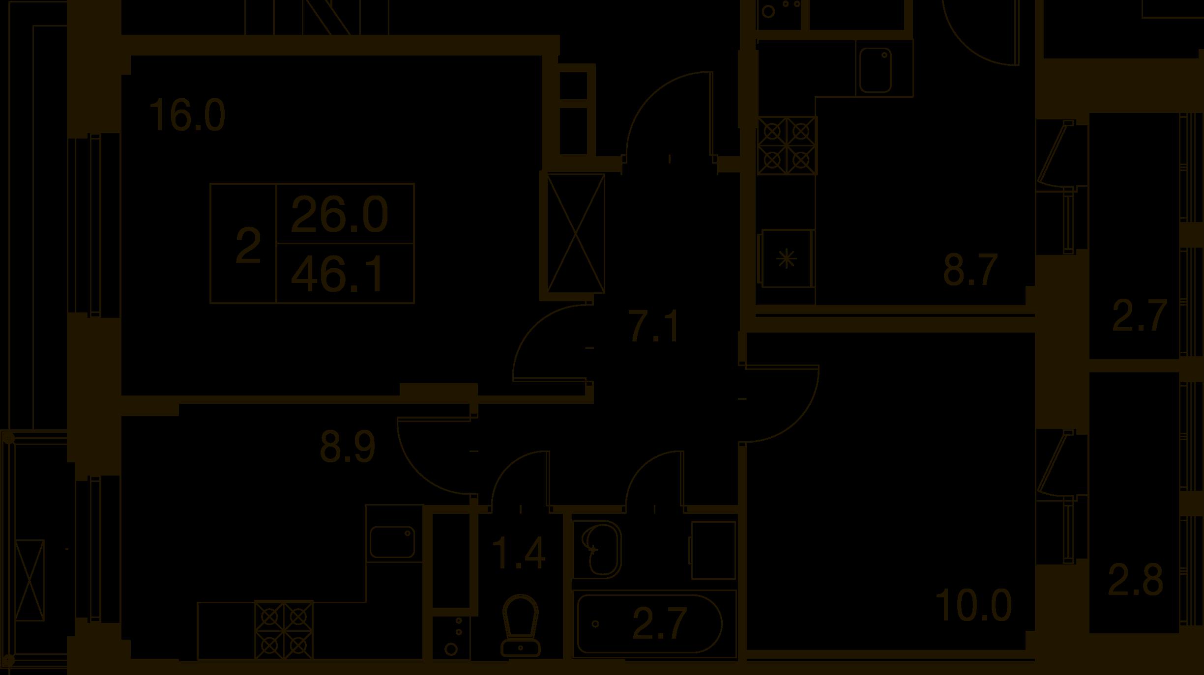 2-комнатная квартира в Митино О2, дом №7, квартира №07-289