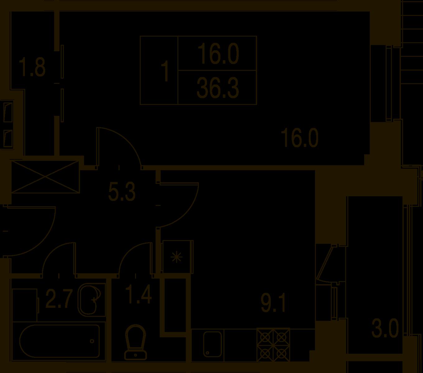 1-комнатная квартира в Митино О2, дом №7, квартира №07-305