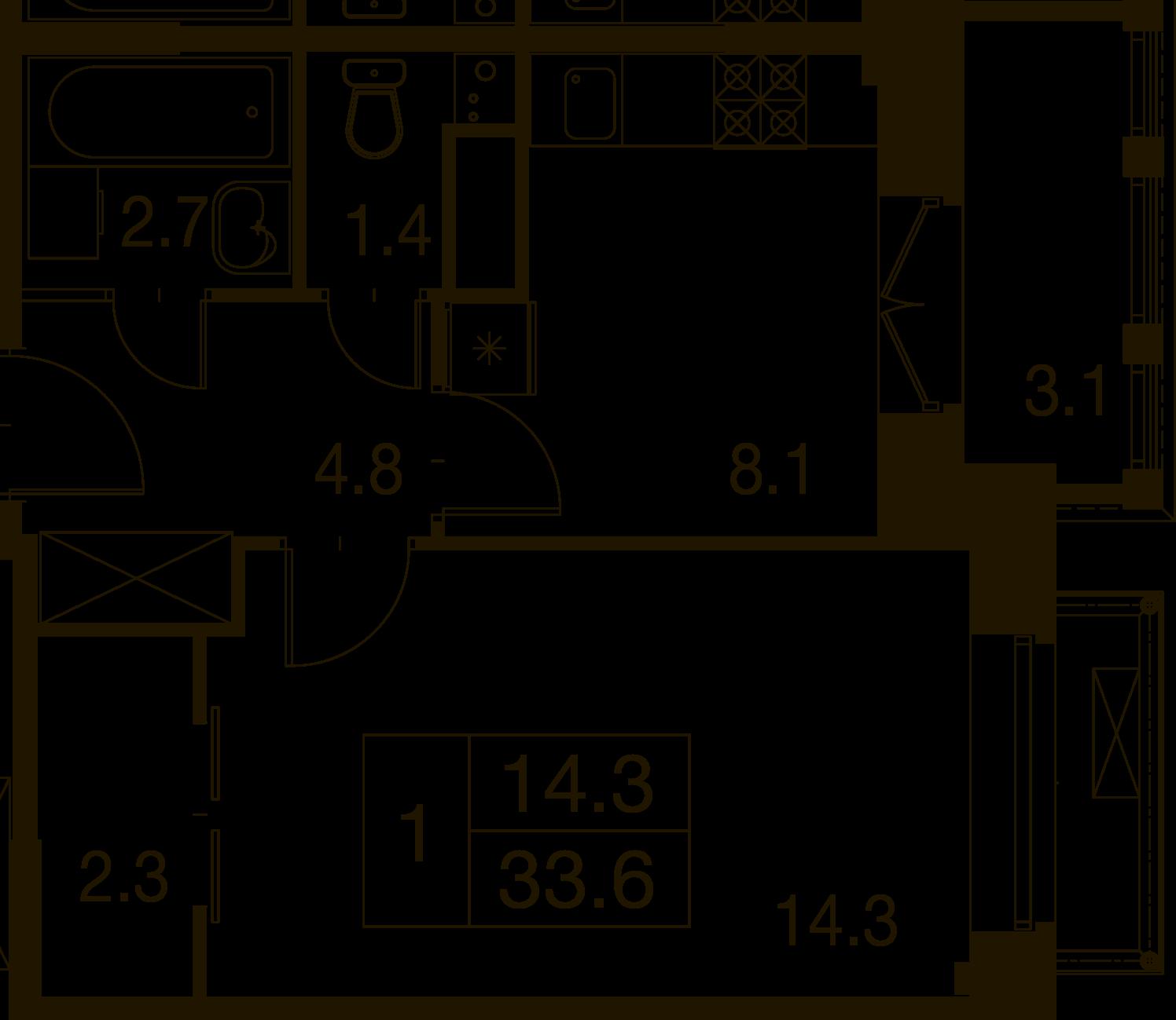 1-комнатная квартира в Митино О2, дом №7, квартира №07-335
