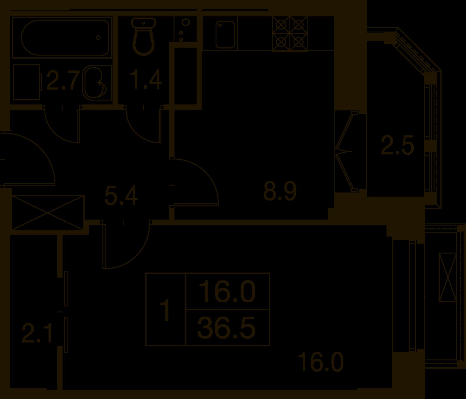 1-комнатная квартира в Митино О2, дом №7, квартира №07-345