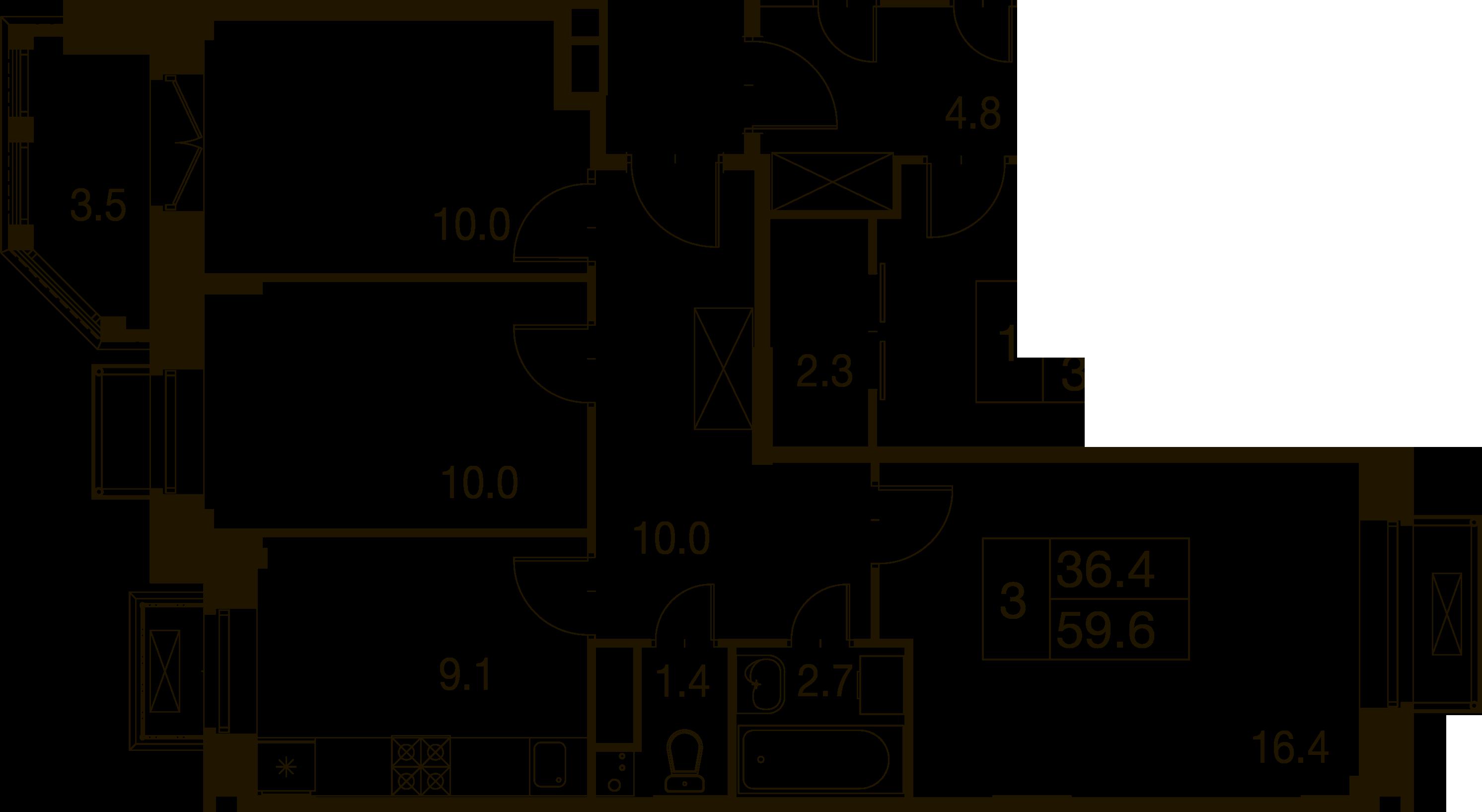 3-комнатная квартира в Митино О2, дом №7, квартира №07-348
