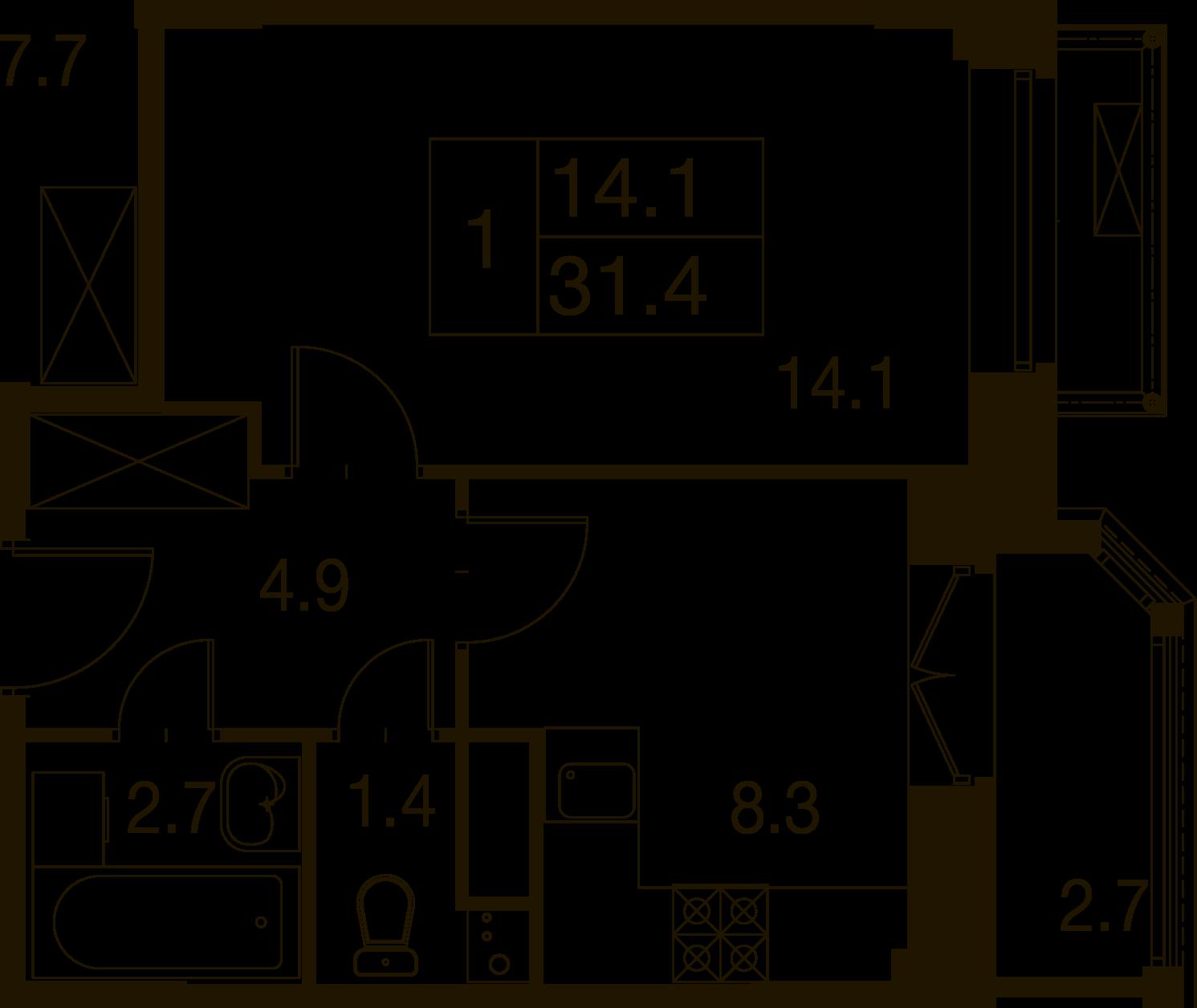 1-комнатная квартира в Митино О2, дом №7, квартира №07-373