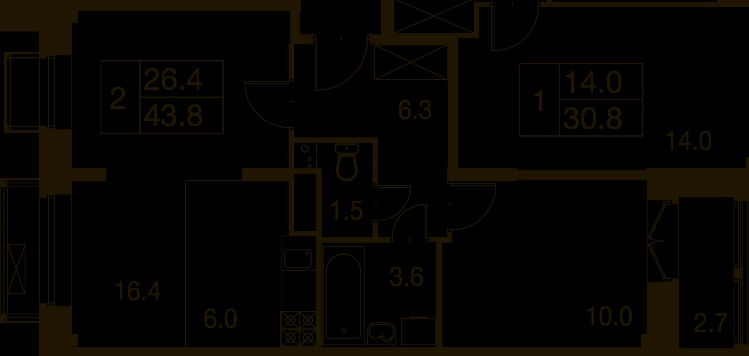 2-комнатная квартира в Митино О2, дом №7, квартира №07-375