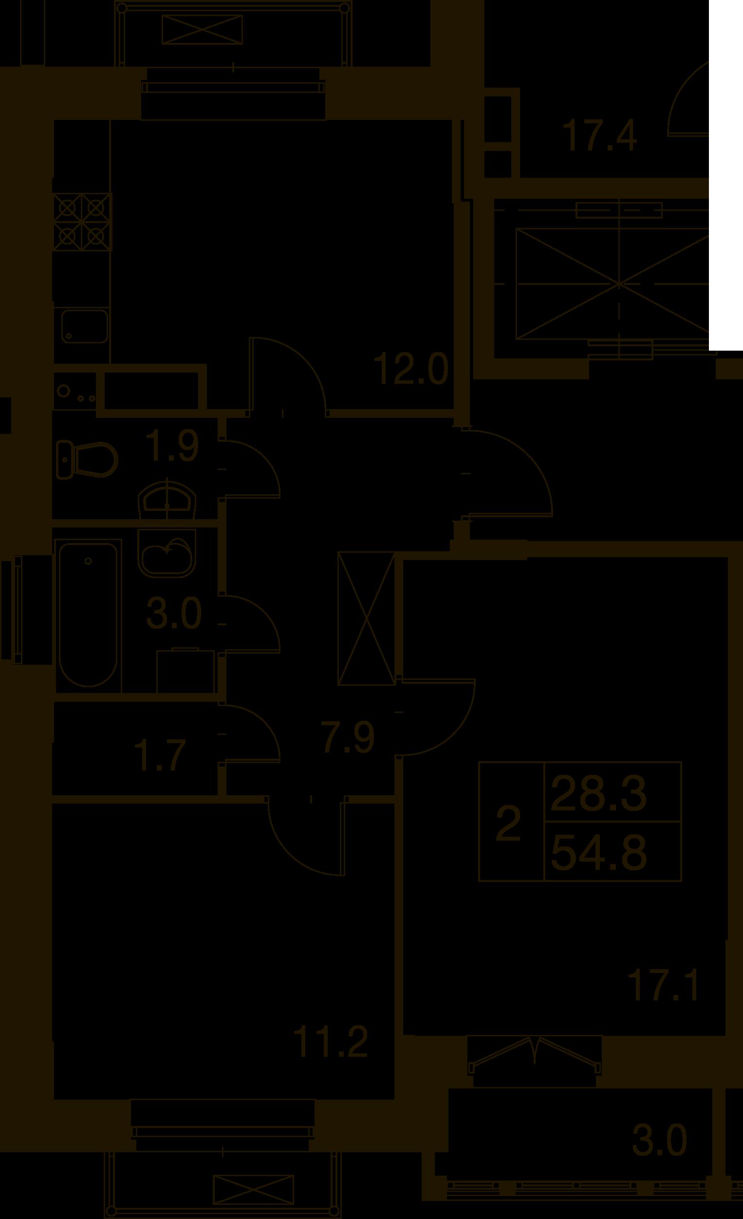 2-комнатная квартира в Митино О2, дом №7, квартира №07-038