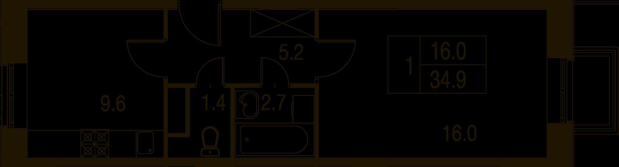 1-комнатная квартира в Митино О2, дом №7, квартира №07-041