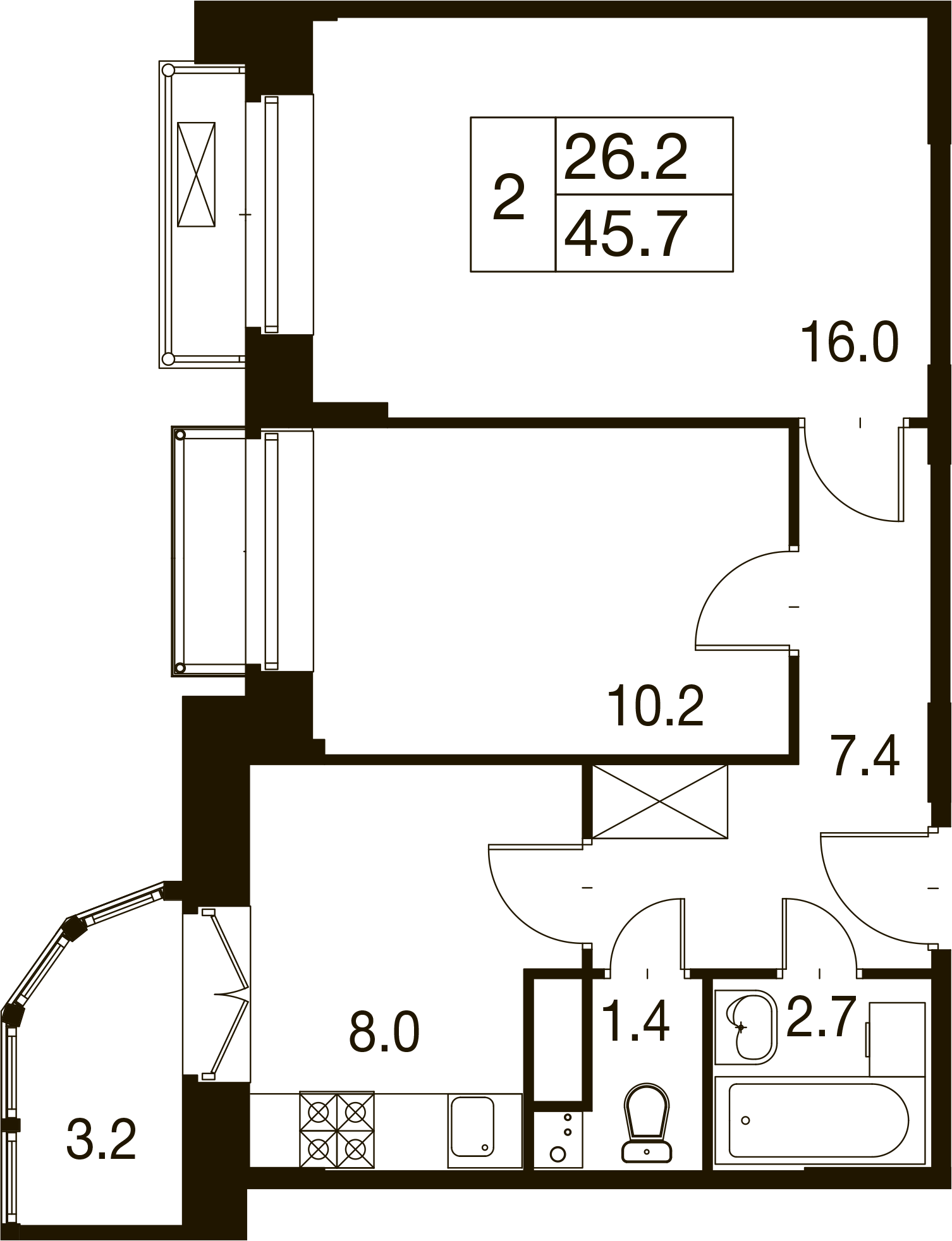 2-комнатная квартира в Митино О2, дом №7, квартира №07-465
