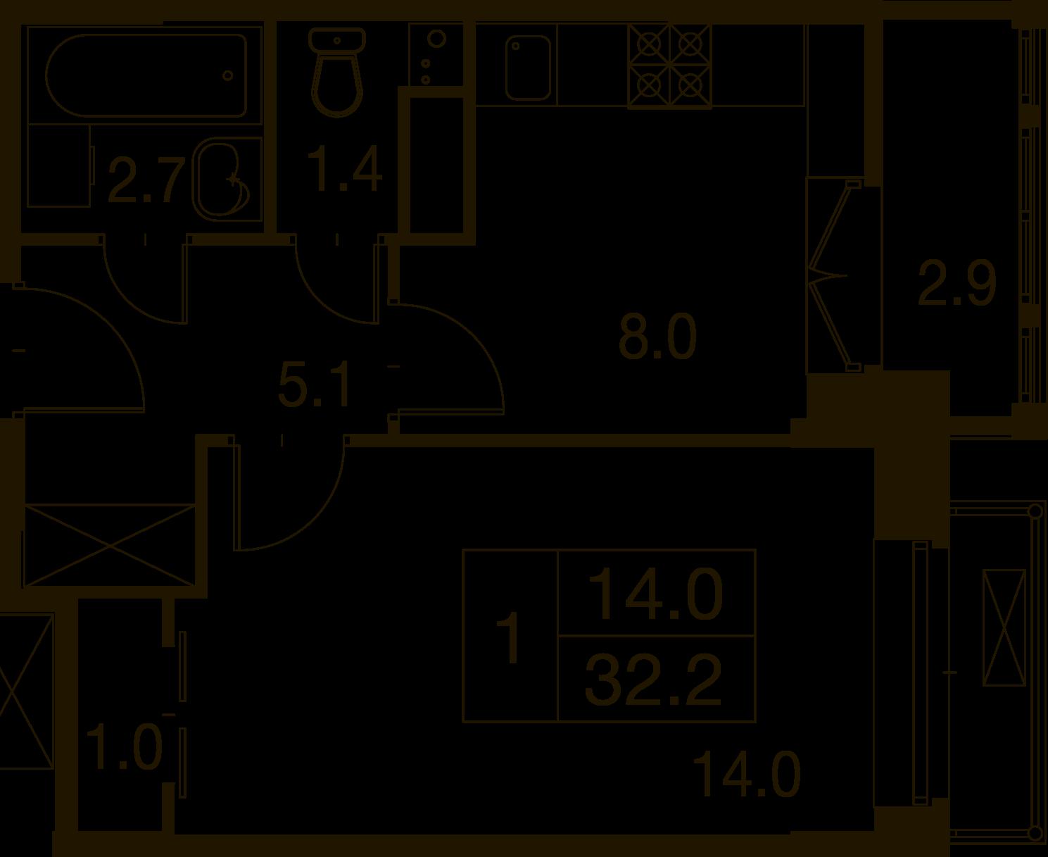 1-комнатная квартира в Митино О2, дом №7, квартира №07-064