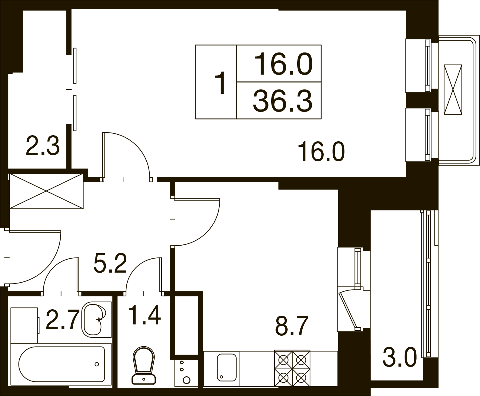 1-комнатная квартира в Митино О2, дом №7, квартира №07-092