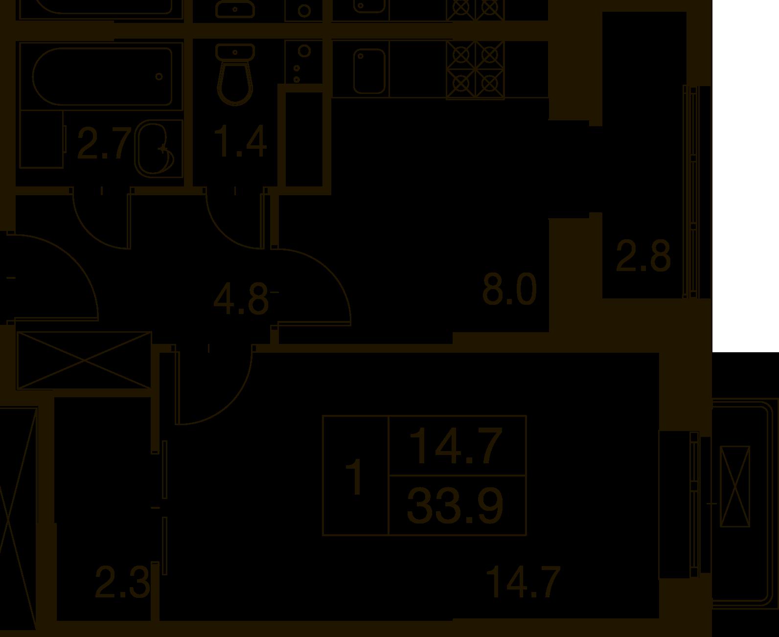 1-комнатная квартира в Митино О2, дом №7, квартира №07-099